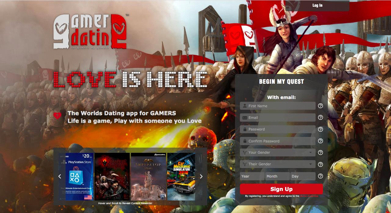 GamerDating main page
