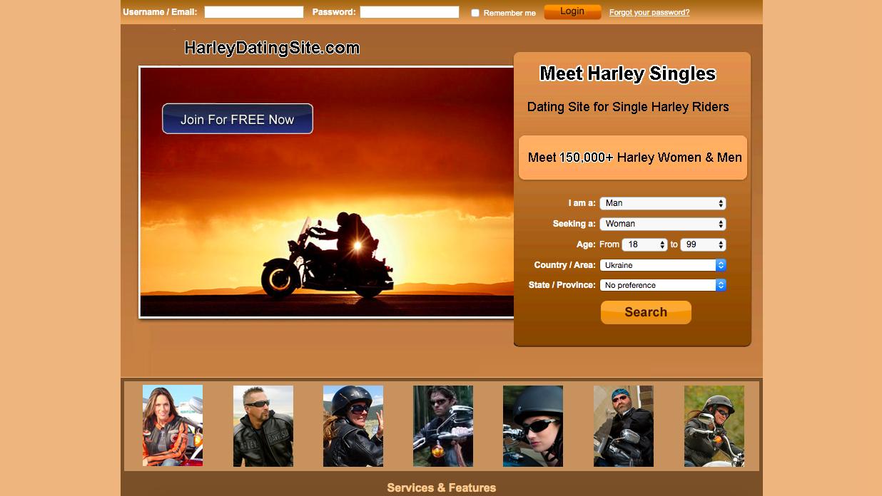 HarleyDatingSite main page
