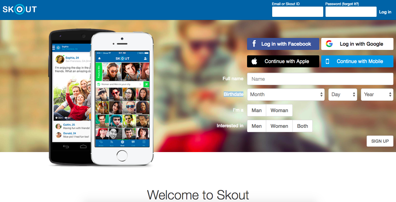 Skout main page
