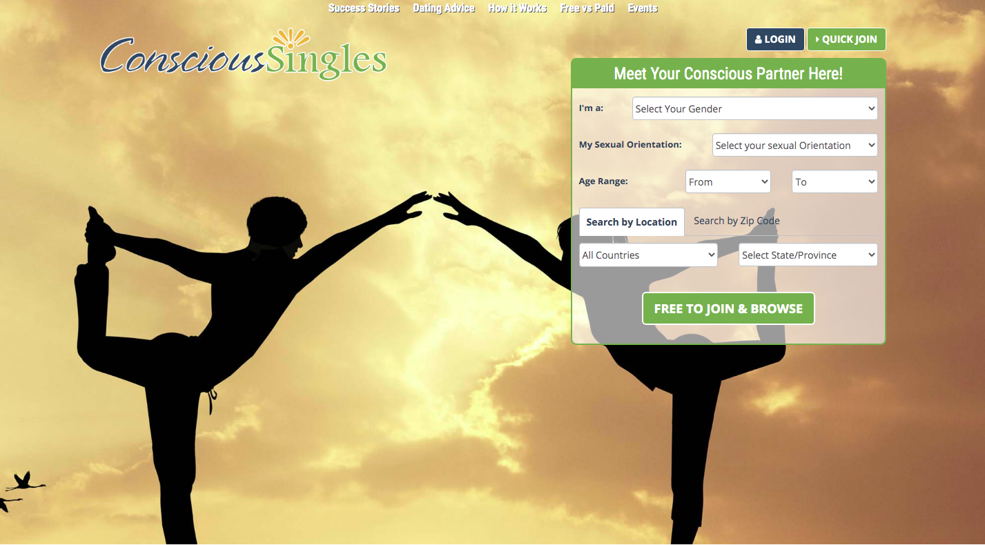ConsciousSingles main page