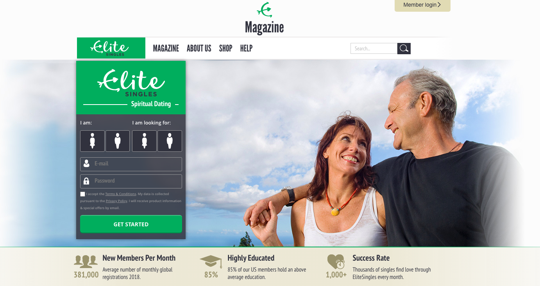 EliteSingles spiritual main page